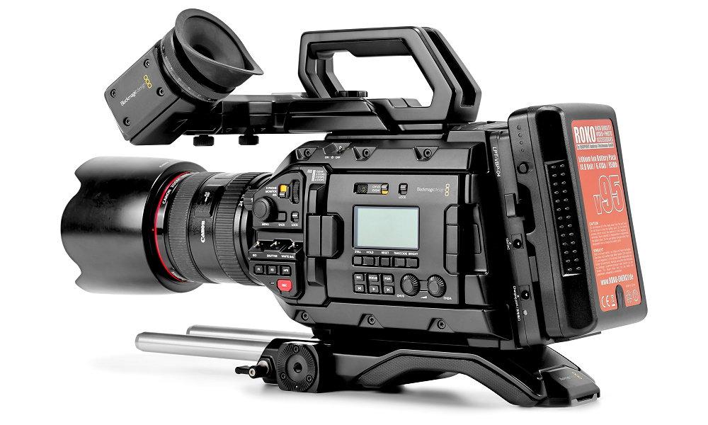 ROKO V-Mount Akku auf Blackmagic URSA Mini Pro Kamera